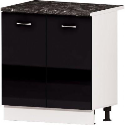 Долен кухненски шкаф с две врати и рафт Алис B2 80 см - черно гланц