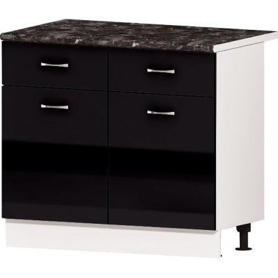 Долен кухненски шкаф с две врати и две челмеджета Алис B63 100 см - черно гланц