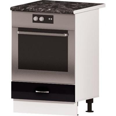 Долен кухненски за вградена фурна Алис B7 60 см - черно гланц