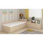 Легло с чекмеджета и ракла Мареа 1 + шкаф Мареа 2 цвят дъб сонома