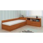Легло с чекмеджета и ракла Мареа 1 + шкаф Мареа 2 цвят орех