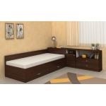 Легло с чекмеджета и ракла Мареа 1 + шкаф Мареа 2 цвят венге