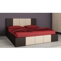 Тапицирано легло Казабланка кожа тъмен дъб мат/ кожа крем мат