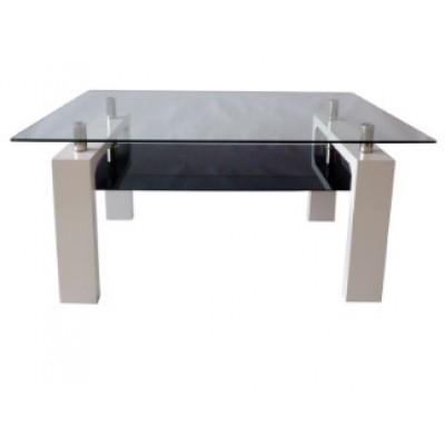 Трапезна маса MDF T605 150/90/75h бяла с черно долно стъкло