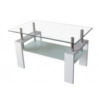 Холна маса D-180 100/60/60 бяла с бяло долно стъкло