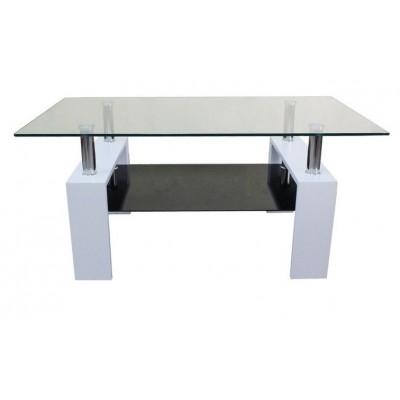 Холна маса MDF 605 130/70/45h бяла с черно долно стъкло