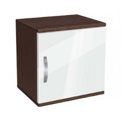 Нощно шкафче Ава 1 бяло гланц/ венге