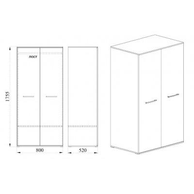 Модул Гранд M 67 - двукрилен гардероб