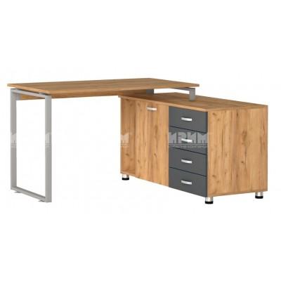 Офис модул 184 ъглово бюро с метални страници и контейнер 138.5/120 см
