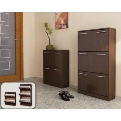 Шкаф за обувки Вектра 3 тъмен дъб/пясъчен дъб