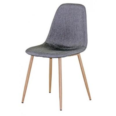 Трапезен стол AM-A-293B сив текстил/сонома крака